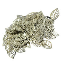 100Pcs Tree Leaves Leaf Filigree Hollow Cut Charm Pendant DIY Jewelry Findings