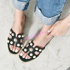 Womens Fashion Open Toe Pearl Hollow Flat Casual Leisure Sandals Mules Shoes hot