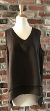 MATCH POINT LA FIXSUN BROWN 100% LINEN TANK TOP TUNIC SLEEVELESS V-NECK 2-LAYER