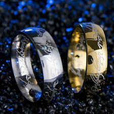 Unisex Lord of the Ring Stainless Steel The One Ring Bilbo's Hobbit Golden Ring
