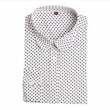 Polka Dot Pattern Long Sleeve Cotton Material Plus Size Shirt for Women ABN307