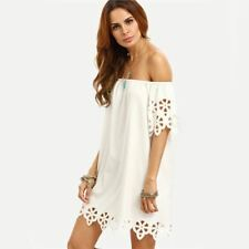 White Color Cutout Off The Shoulder Summer Half Sleeve Mini Dress For Women
