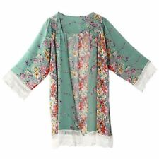 Long Sleeve Vintage Printed Lace Shawl Over-sized Blouse For Women