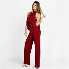 Women High Neck Front Ruffle Long Pant Red Color Sleeveless Jumpsuit
