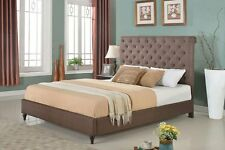 Tufted Headboard Bed Platform Twin Full Queen King Size Brown Wood Frame Slats