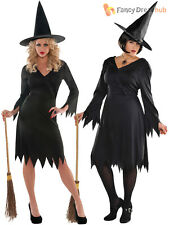Ladies Wicked Witch Costume Adults Halloween Fancy Dress Womens Witches Outfit
