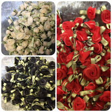 Organza Ribbon Roses Buds Embellishments – Small – Red – Black – Cream