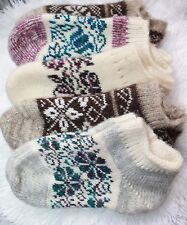 SOCKS SLIPPERS natural russian sheep wool yarn HOME Knitted craft size 37