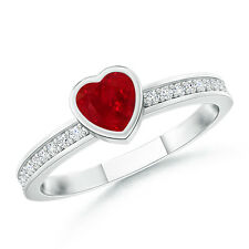 Natural Heart Ruby Promise Ring with Diamond Accents 14k White Gold Size 3-13