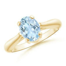 1 ctw Tapered Shank Oval Natural Aquamarine Solitaire Ring 14k Yellow Gold