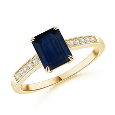 Claw-Set Emerald Cut Sapphire Cocktail Ring with Diamond Accent 14k Yellow Gold