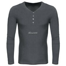COOFANDY Men Casual V-Neck Long Sleeve Pure Color Cotton Slim Basic Tee BF901