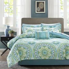 9pc teal green blue multi colored medallion design comforter bed bag sheet set