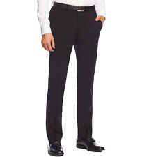 NWT CALVIN KLEIN Men's Black Wool Slim Fit Flat Front Dress Pants Trousers $150