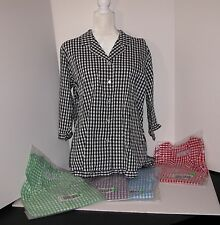 *NEW* Denim & Co. Seersucker Gingham 3/4 Sleeve Ruffle Shirt Size Large