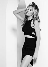 -% ABBEY CLANCY Black High Waist Pencil Skirt with Cut Out Detail UK 8 12
