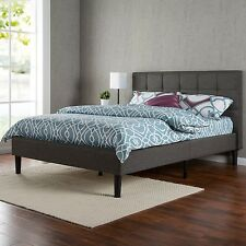 Platform Bed Frame Upholstered Headboard Queen Full Twin King Size Wooden Slats