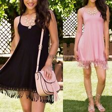 Summer Women Casual Spaghetti Strap Bodycon Tassel Tank Short Dress WT8802