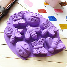 8× Insect Vine Leaf Cake Mold Silicone Craft DIY Bee Dragonfly Butterfly Ladybug
