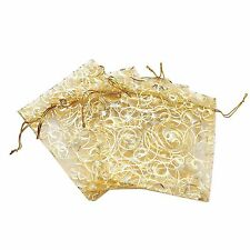 50Pcs Gold Organza Wedding Party Favor Gift Bags Jewelry Candy Drawstring Pouch