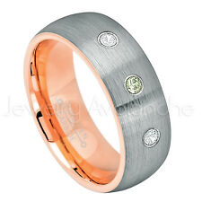 Tungsten Ring,0.21ctw Peridot & Diamond 3-Stone Ring,August Birthstone Ring #737