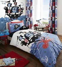 Catherine Lansfield Kids Boys Blue Pirate Ship Duvet Cover Bed Set