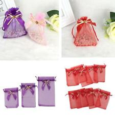 10pcs Drawstring Organza Bowknot Gift Bags Wedding Favor Elegant Pouches