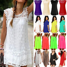 Boho Women Short Mini Dresses Summer Holiday Beach Casual Tops Shirts Sundress
