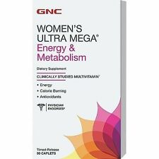 GNC Womens Ultra Mega Energy and Metabolism 90 CAPLETS FRESH SEALED NEW EXP 2/18