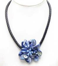 SALE 70mm Baroque Dark Blue Shell Flower & Pearl pendant 18'' Rope Necklace-6359