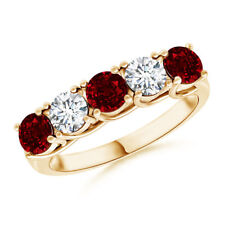 Half Eternity Five Stone Ruby and Diamond Wedding Band in 14k Yellow Gold