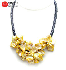 Orang Baroque Shell Flower with Pearl pendant Black Rope 18'' Necklace-nec6336