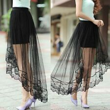 Summer Women Gauze Through Mesh Tulle Lace Floral Gothic Long Maxi Skirt Dress
