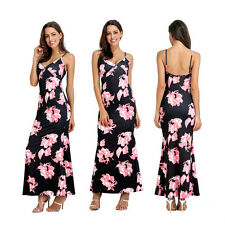 WOMEN SEXY SPAGHETTI STRAP V-NECK FLORAL BACKLESS PARTY LONG MAXI DRESS CAREFUL