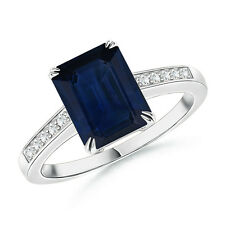Claw-Set Emerald Cut Sapphire And Diamond Cocktail Ring 14K White Gold Size 3-13