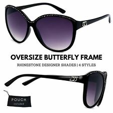 Women CG Retro Vintage Oversize Butterfly Bling Round Frame Fashion Sunglasses