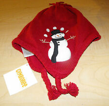 NWT Gymboree Snow Chillin' RED Snowman Tassle Winter HAT Infant 0-12 mo OR 2T-3T