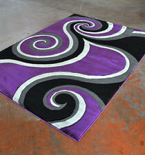 New Purple Black Contemporary Hand Carved 3-D Swirl Polyester Area Rug Carpet