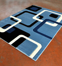 New Light Blue Contemporary Hand Carved 3-D Cubic Geometric Polyester Area Rug
