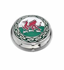 Sea Gems Gift Boxed Enamelled Celtic Welsh Dragon Silver Plated Pillbox