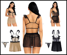 Sexy Womens Lingerie Lace Cupless Strappy Chemises Babydoll Mini Dress Sleepwear