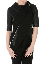 RICK OWENS New Woman black Short sleeve leather Jacket Biker NWT