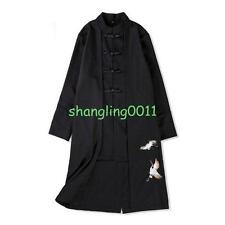 Chic Mens Embroidery Chinese Style Wool Jacket Long Coat Overcoat Trench Jacket