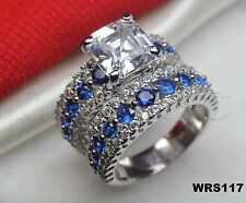 Blue White Sapphire Sterling Silver 925 Princess 6.7CTW Bridal Wedding Ring Set
