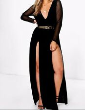 Plus Size Dress Split Maxi Long Sleeve Sexy Cocktail Night Party Red Black
