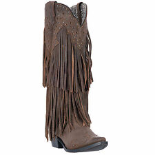 Laredo Womens Brown Nmotion Leather Cowboy Boots 16in Fashion Fringe