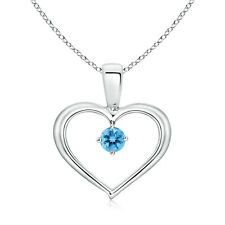 "Solitaire Round Blue Topaz Open Heart Pendant Necklace 18"" Chain Silver/14k Gold"