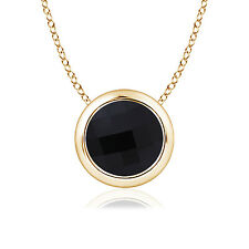 "Round Natural Black Onyx Solitaire Pendant Necklace 18"" Chain 14k Yellow Gold"
