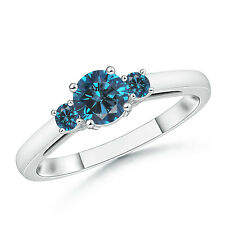 Round Enhanced Blue Diamond Past Present Future Engagement Ring 14k White Gold