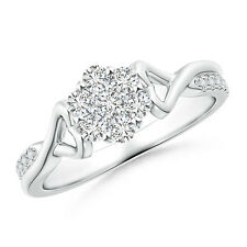 Twisted Heart 2 Heart Natural Round Diamond Cluster Ring 14k White Gold Size 7